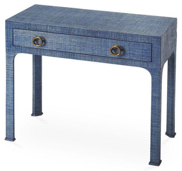 Nina Raffia Console Table, Indigo