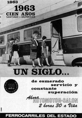 Ferrocarriles del Estado, 1963. Centenario del Tren Santiago - Valparaíso