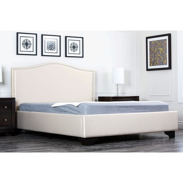 abbyson living camden cream fabric queensize platform bed overstock shopping great