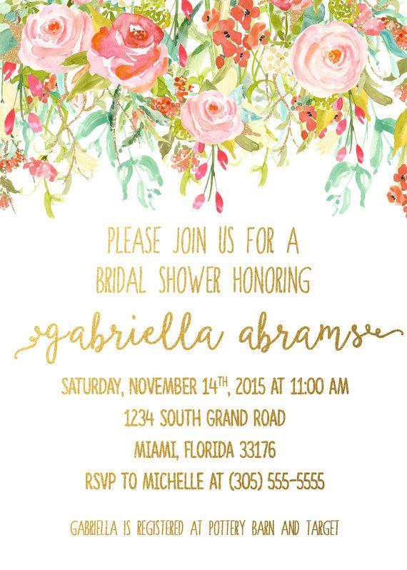 Garden Bridal Shower Invitation Floral Bridal by CasaConfetti
