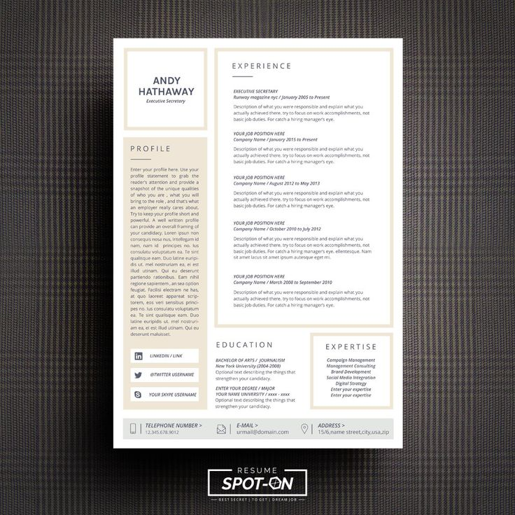 17 best Resume/CV template by Spot-On Resume images on Pinterest ...