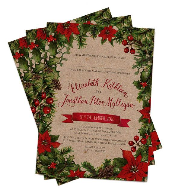 Vintage Christmas Leaves Wedding Invitation