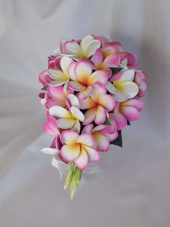 Pink Frangipani Plumeria Teardrop Bouquet Real-Touch Destination Wedding on Etsy, $114.62