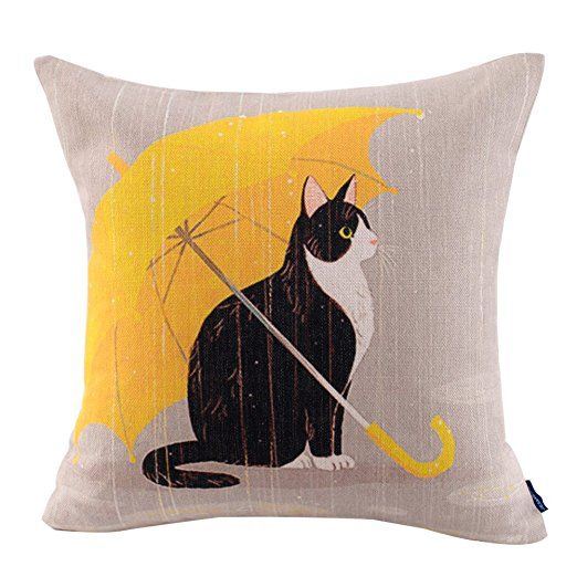 JES&MEDIS Cat Cotton Linen Decorative Cushion Cover Pillow Case,18x18inch