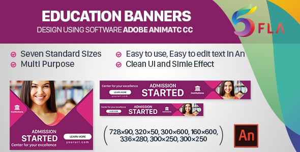 Education Banners 7sizes Animate Cc Education Banner Animated Banner Ads Banner