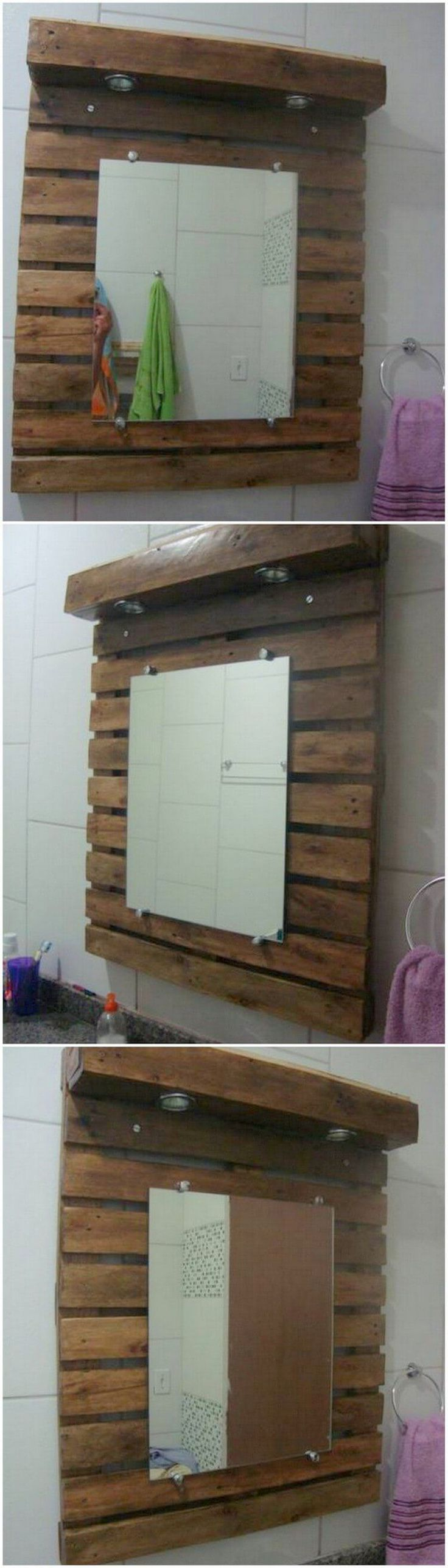 Now a days the demand of the wood pallet vanity mirrors is raising up high  in sky. If you are using this wood pallet vanity mirror in your bathroom  area, ...