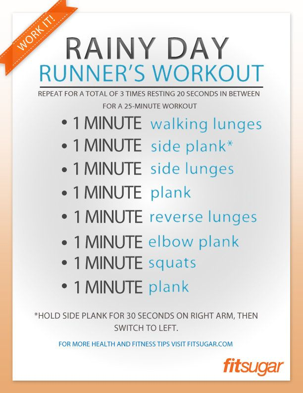 An Indoor Leg Workout For the Next Rainy Day - If cold, wet weather threatens to dampen your outdoor running goals, don't sweat it. Do this 25-minute leg-strengthening circuit indoors instead. The lunge and plank variations help work leg, butt, and ab muscles that running overlooks — so you'll become a better runner the more you do this workout — and the short but sweet circuits ensure you'll be toning and burning calories as well.