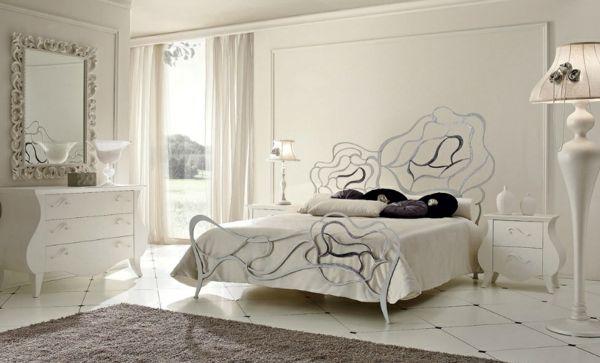 Metall Bett Rahmen klassisch Rosen