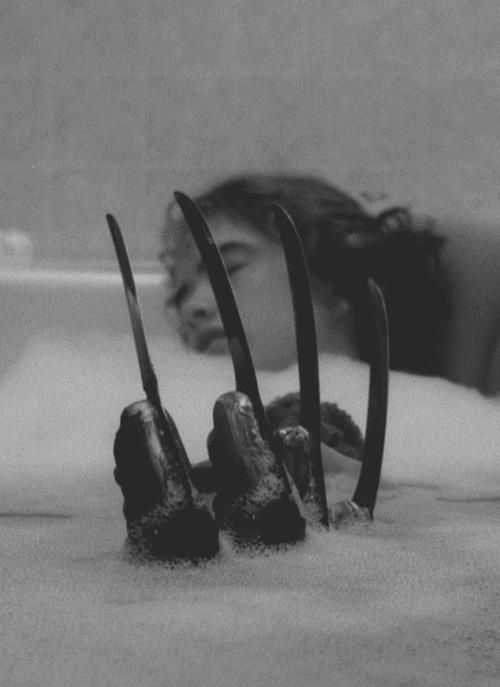 Bathroom Nancy Thompson and Freddy Krueger in the original Nightmare on Elm Street