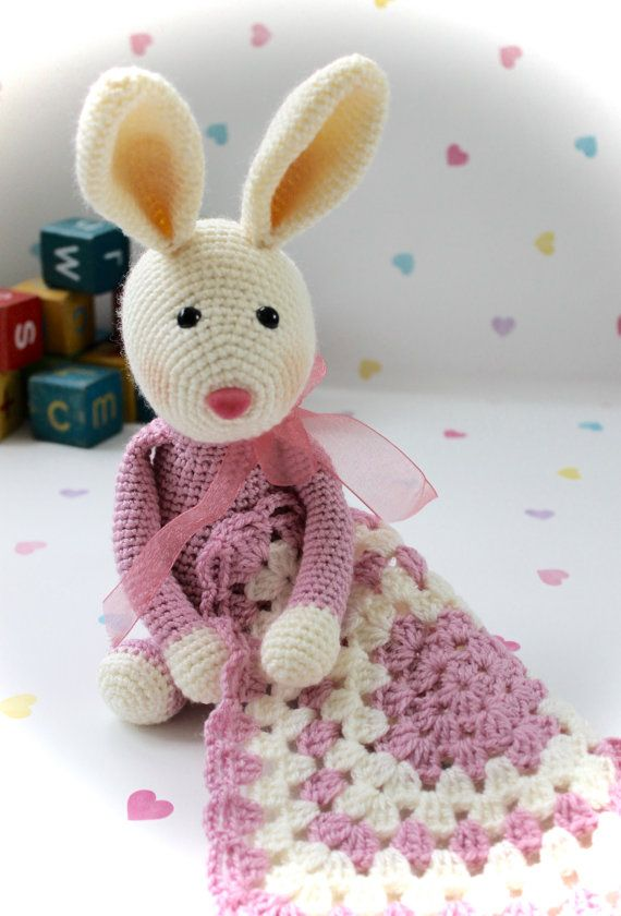 Snuggly Boo and Blankie  Crochet Rabbit Bunny toy and doll rattle
