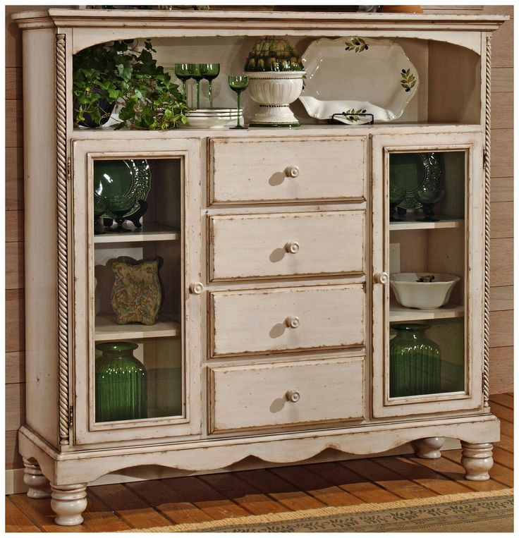 Hillsdale wilshire antique white 4 drawer bakers cabinet for French antique white kitchen cabinets