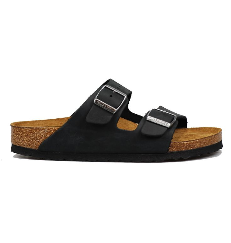 Birkenstock Arizona 0752483 Black Oiled Leather Leather Footbed Liner Leather Upper Natural Cork Footbed Narrow Fit/Footbed Soft Footbed