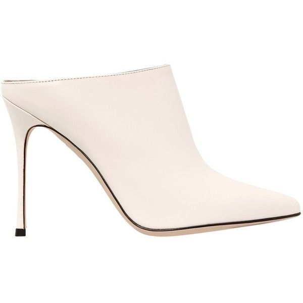 Sergio Rossi Women 105mm Brushed Leather Mules ($825) ❤ liked on Polyvore featuring shoes, heels, off white, leather sole shoes, genuine leather shoes, heeled mules shoes, leather mules and pointy toe shoes