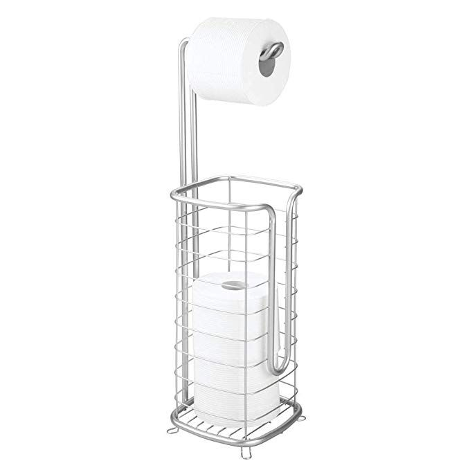 Mdesign Metal Free Standing Toilet Paper Holder Stand And Dispenser With Storage For 3 Spare Rolls Of Toilet Tissue While Dispensing 1 Roll For Bathrooms Powde Toilet Paper Holder Stand Free Standing