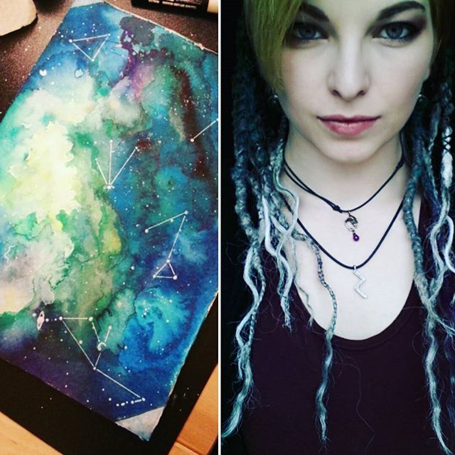 I love blues, greens and everything in between ^^ #galaxara #galaxaradk #creative #art #artist #dreadlocks #dreadlockstyle #painting #castens #inspiration