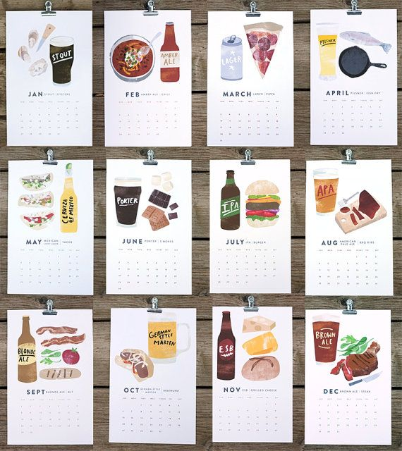 beer/food 2013 calendar by redcruiser on Etsy, $24.00