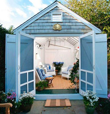 Nautical garden shed made into a porch of sorts