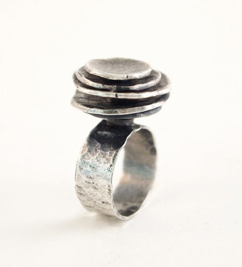 """Liisa Vitali for Nils Westerback, vintage modernist silver ring, resembling a piece from Liisa's """"Gardenia"""" collection, 1970s. #Finland 