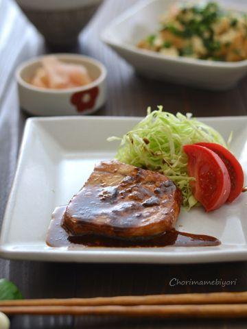 暑い日の魚おかず-メカジキの黒酢照り焼き。新生姜の万能らっきょう酢漬け。