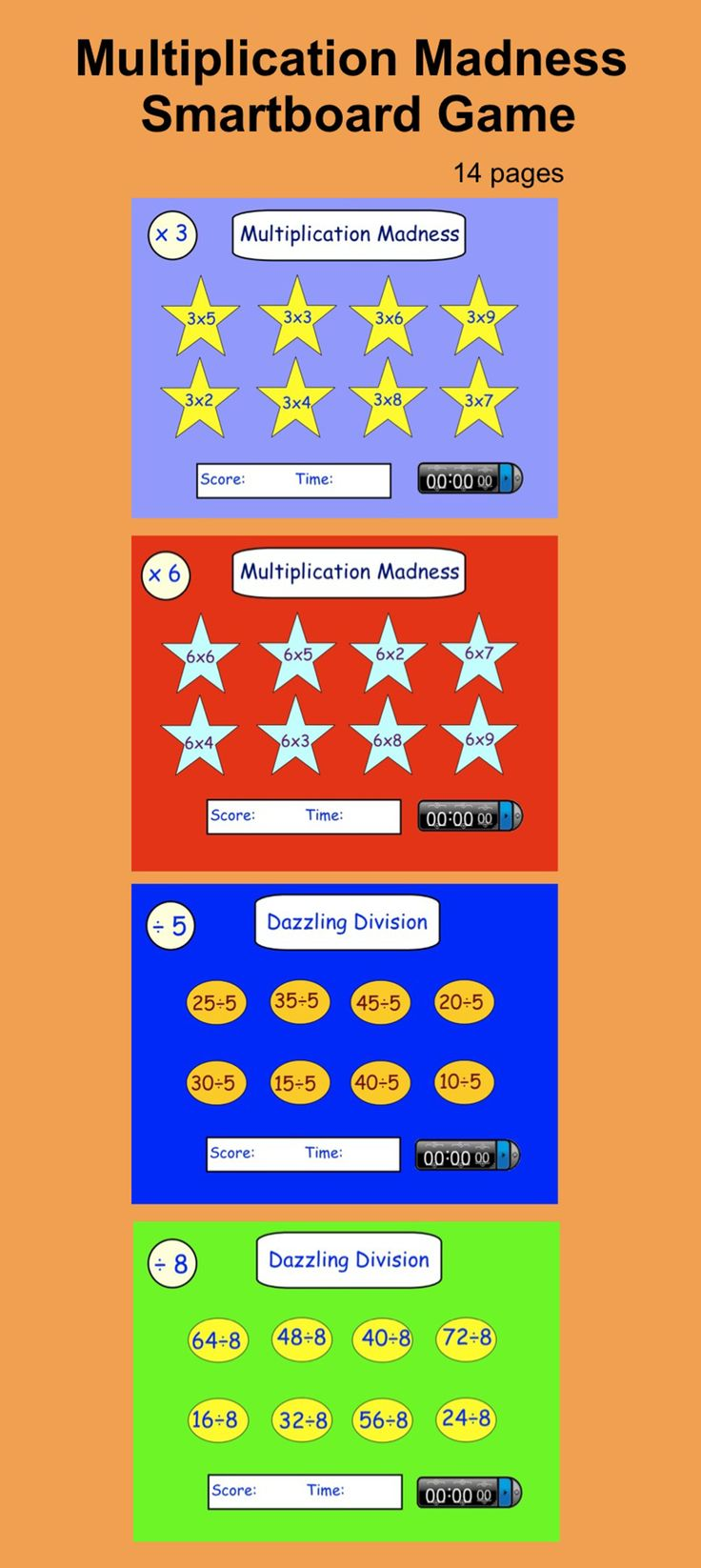 Multiplication Madness, interactive smartboard drills with timer.