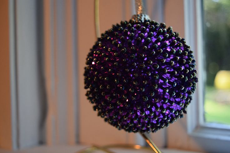One of a Kind Handmade Beaded Ball Ornament - Free US Shipping - Holiday, Christmas, Home Decor, Accent, Heirloom, Purple by AWellCraftedLife on Etsy https://www.etsy.com/listing/243870937/one-of-a-kind-handmade-beaded-ball
