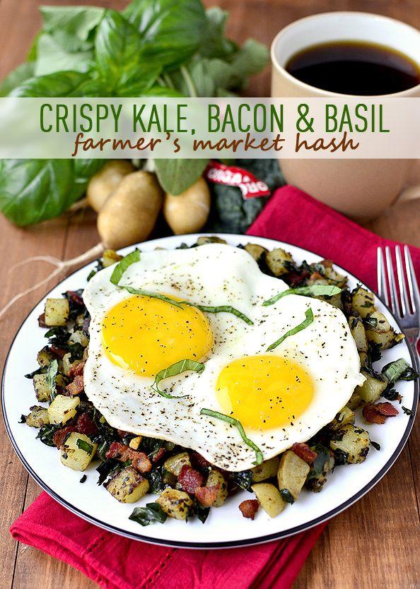 Crispy Kale, Bacon & Basil Farmer's Market Hash   iowagirleats.com