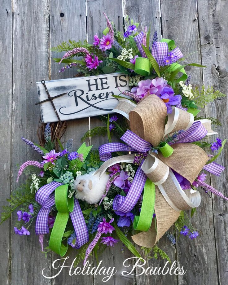 A personal favorite from my Etsy shop https://www.etsy.com/listing/590330135/he-is-risen-easter-wreath-easter-wreath