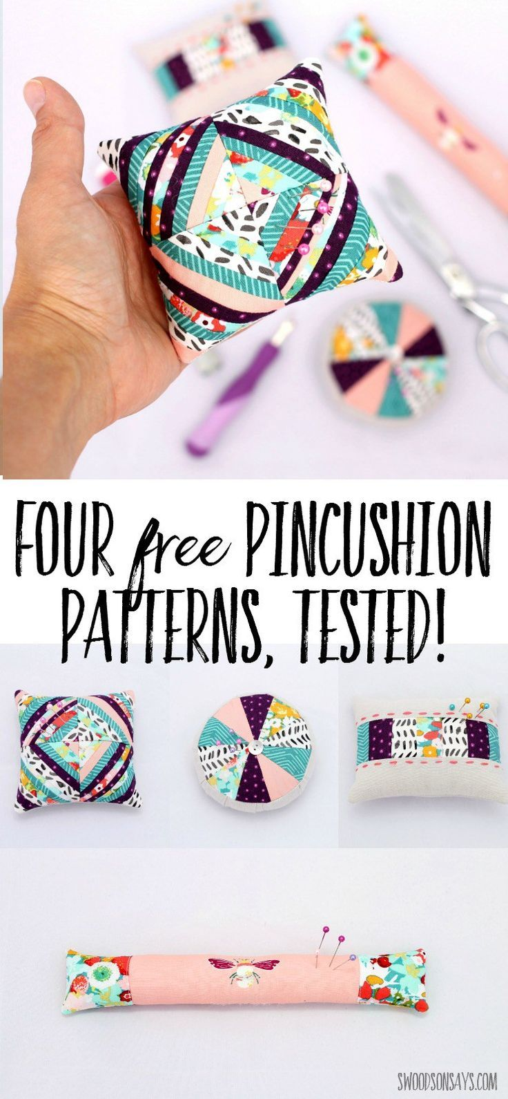 I tested four free pincushion patterns - come see what I thought of each one and get the links! Great scrap buster pincushion tutorials and handmade gift ideas. #pincushiontutorial #sewingtutorial #pincushion #scrapbuster