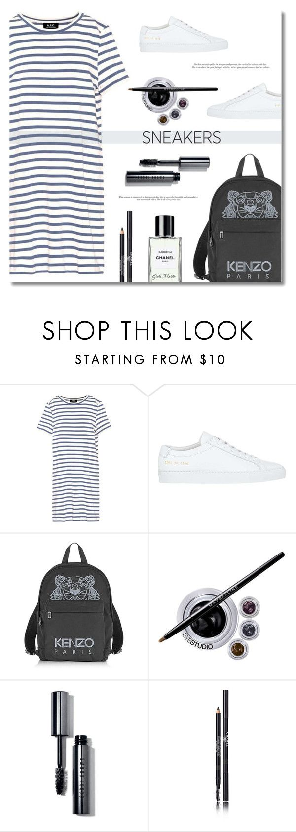 """""""So Fresh: White Sneakers ... 2017"""" by greta-martin ❤ liked on Polyvore featuring A.P.C., Common Projects, Kenzo, Maybelline, Bobbi Brown Cosmetics, Chanel, contestentry and whitesneakers"""