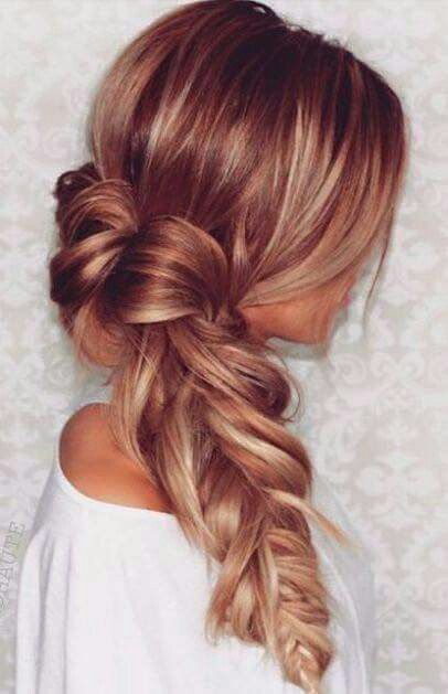 Big, bold braid. | Blonde Hair with Red Highlights: Long Hair Color Ideas