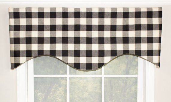 Woven Buffalo Check Shaped Valance With Or Without Trim In Gray