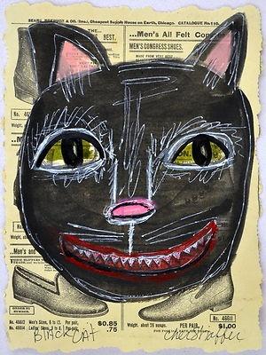 Original folk,outsider,self-taught,brute painting,Cher Shaffer black cat