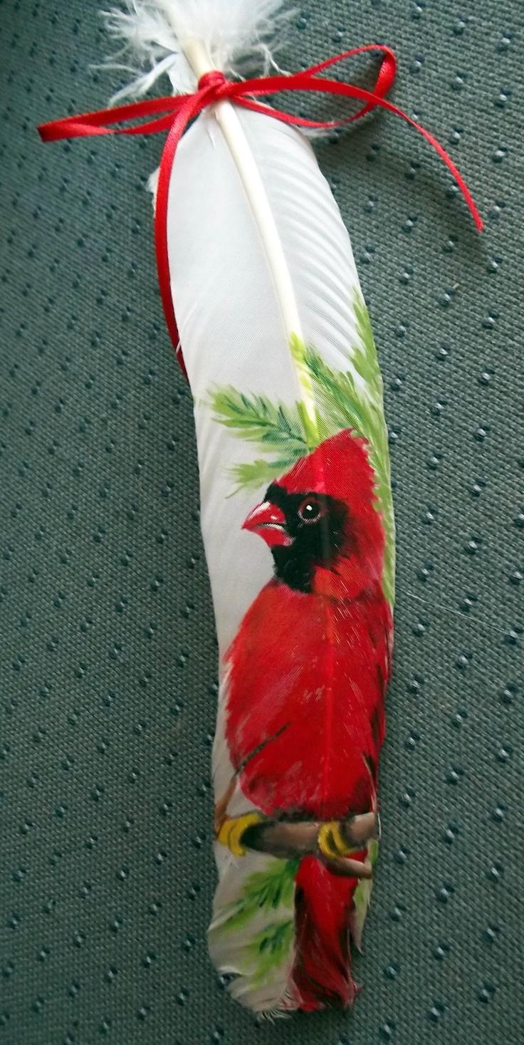 Kardinal Bird aus Acryl auf weißer Truthahnfeder