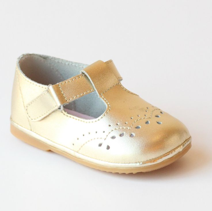 Angel Baby Girls Gold T-Strap Mary Janes