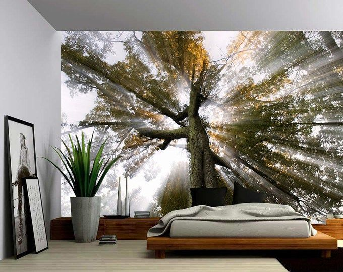 Forest Tree Rays Of Light Large Wall Mural Self Adhesive Etsy In 2021 Large Wall Murals Wall Murals Vinyl Wallpaper