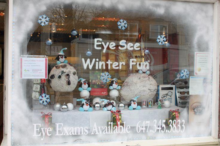 Winter window display #WindowDisplay #merchandising #winter #christmas