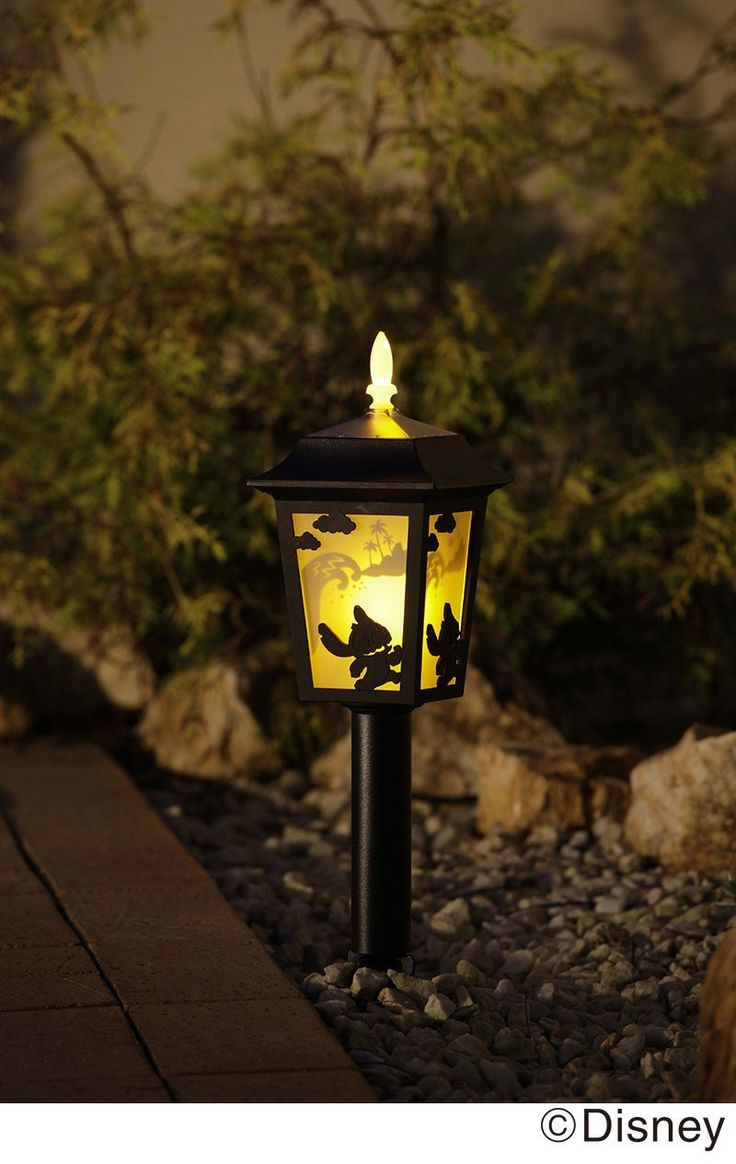 Disney Lilo and Stitch silhouette garden solar light