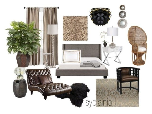sypialnia I by a-filipczak on Polyvore featuring interior, interiors, interior design, home, home decor, interior decorating, ACME, Sunpan, Hospitality Rattan and Arteriors
