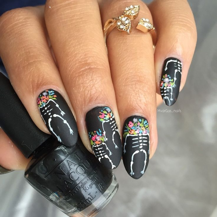 Nailpolis Museum of Nail Art | Skeletons and flower heads by Massiel Pena