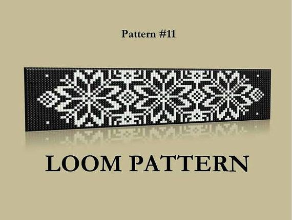 Seed Bead Loom Pattern #11- 12 - Two Color Palettes - Baltic Ornament Beaded Bracelet Pattern - Black White Grey Loom Pattern