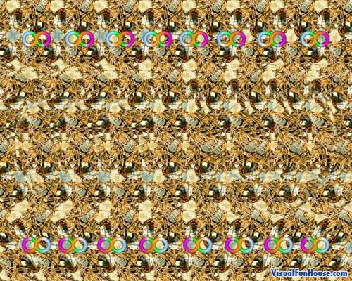 Stare into the Magic Eye Infinity Illusion (If you have never done these before there is two tricks. One make your eyes slowly go crosseyed and it should jump out at your (works almost instantly for me) .  The second method is to go close to the screen stare into the center and slowly move away.)