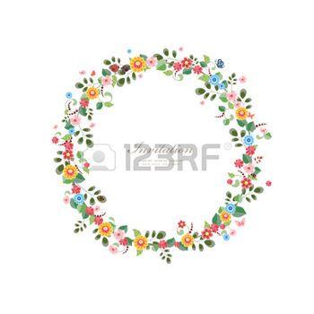 cornice disegno: carta di invito con la corona floreale per la progettazione