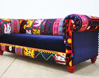 One of our signature pieces, a handmade chesterfield patchwork sofa. The classic design tufted upholstered by colorful velvet fabrics mix. Beautiful combination of lovely colors. The beech wood construction, foam rubber and the fabrics are brand new. The frame is made of kiln dried hardwood. Very comfortable elegant piece. Dimension (cm): Three seater sofa with 205 cm width, 100 cm depth, 75 cm height; seat height 45 cm Dimension (inches): Three seater sofa with 80.7 width, 39.4 depth, 29.5…