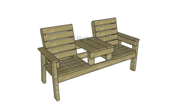 Double Chair Bench With Table Plans Myoutdoorplans Free Woodworking Plans And Projects Diy She Wooden Chair Plans Outdoor Furniture Plans Wooden Bench Diy