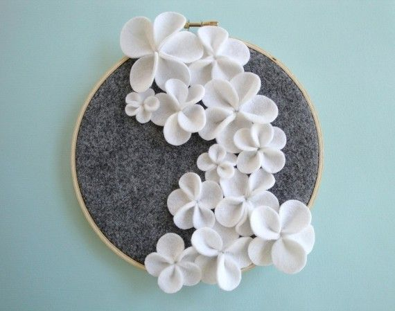 Felt flower embroidery hoop.