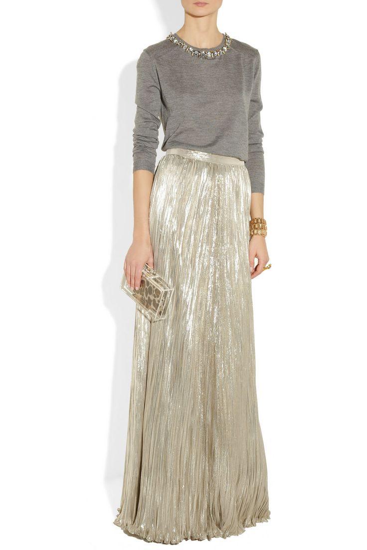SERIOUS about a metallic maxi skirt for NYE!!! Oscar de la Renta Pleated silk-blend lamé maxi skirt NET-A-PORTER.COM