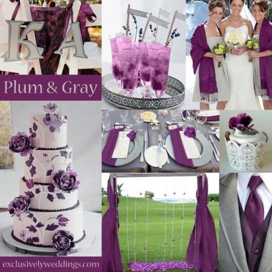 Plum Gray Wedding Motif