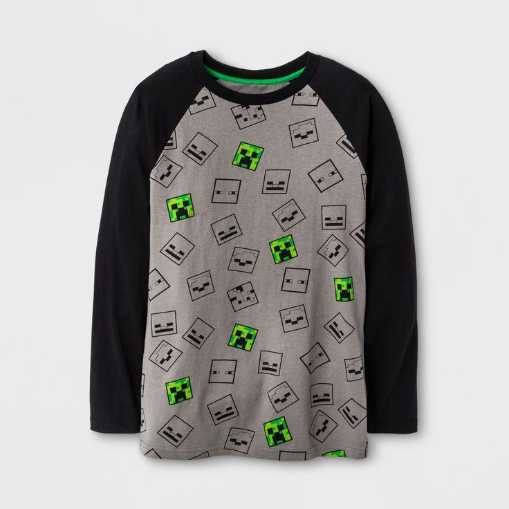 Boys' Minecraft Mobs Allover Print Long Sleeve T-Shirt - Rich Charcoal XS, Gray
