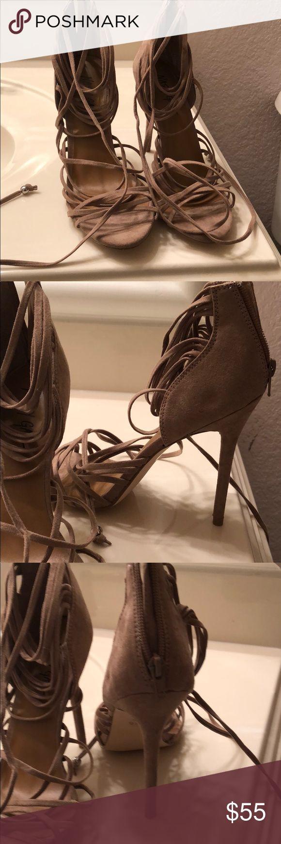 Nastygal heels Nude strappy heels that tie at the top Nasty Gal Shoes Heels