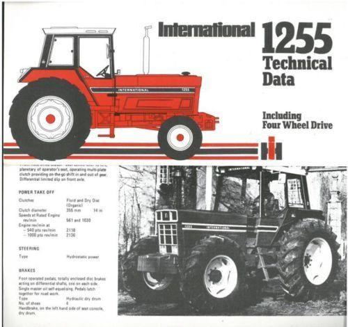IH 1255 International Tractor | International Tractor 1255 Technical Data Brochure